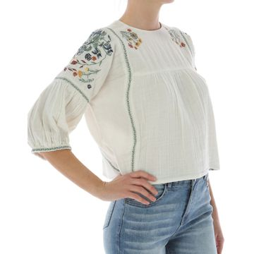Camisas Embroidered S/S Peas (111) Papyrus
